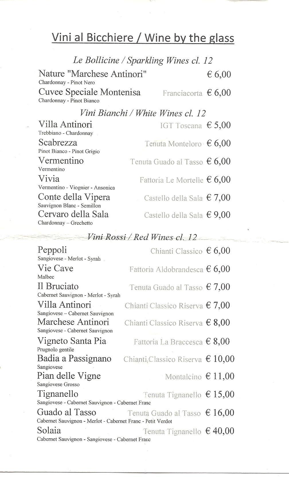 prezzi del vino al bicchiere antinori | soloalsecondogrado