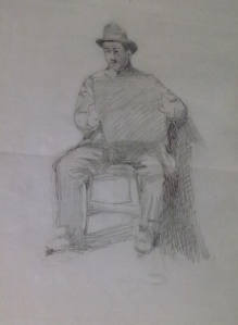 Amedeo Modigliani,'uomo seduto'.Matita su carta.