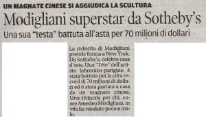 NewYork,novembre/2014 by Sotheby's; testa di Modigliani