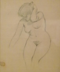 Oscar Ghiglia;  studio di nudo femminile.Il disegno è ancora classico