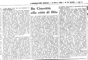 l'osservatore romano; 10marzo 1960, la dolce vita di fellini