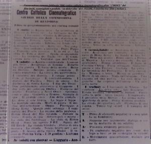 l'osservatore romano,febbraio,1960,indice opere cinematografiche proibite e non.