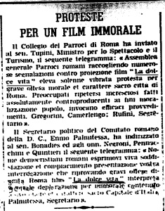 proteste per un film immorale,la dolce vita.L'osservatore romano,febbraio,1960