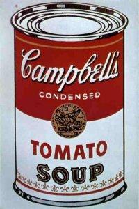 Warhol_Lattina di zuppa Campbell, confronta con l'etichetta / label qui sopra del 'continuatore' - se così si può dire - David la Chapelle. Il vero problema - sia nel produttore che nel consumatore - è che tutto questo 'pout pourri' artistico commerciale è naturale realtà artistica ed apprezzabile ,nel contempo, realtà economica commerciale!