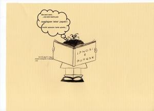 """Testo della strip : ( Mafalda sta leggendo un libro dal titolo :' IPNOSI E POTERE') e  tra se ripete alcune notazioni del libro :"""" Ma senti senti... una sola mente può soggiogare interi popoli! Inutile sprecare tante parole..."""""""