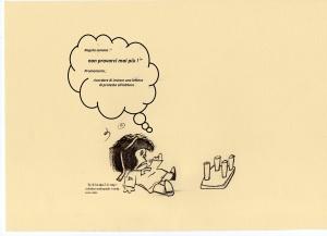 """Testo della strip:"""" :"""" regola somma ; ' non provarci mai più !' Promemoria; ricordare di inviare una lettera di protesta all'editore""""."""