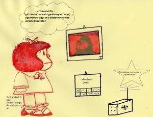 """Testo della strip:"""" (la radio diffonde una canzone di Vasco Rossi :'c'è chi dice no' ),la canzone dice :'  ' c'è qualcosa che non va in questo cielo...' Mafalda sente e afferma :""""...credo anch'io... già non mi andavi a genio a quei tempi, figuriamoci oggi se ti avessi visto come saresti diventato ! """""""