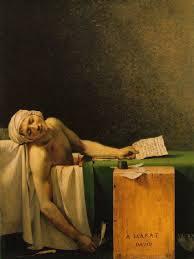 Il Marat di David di ieri ed il Marat di oggi di Giò Pomodoro. Pochi ,credo, sanno in cosa faceva il bagno Marat;  nel mercurio a causa di ...Venere...