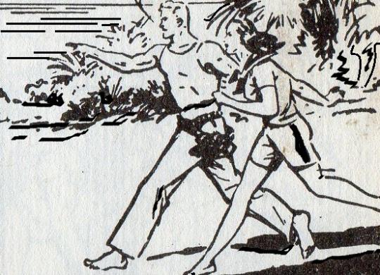 Brick Bradford , e Dora la sua compagna,come Tarzan non disdegnano di girare senza scarpe. Il contatto con la natura...