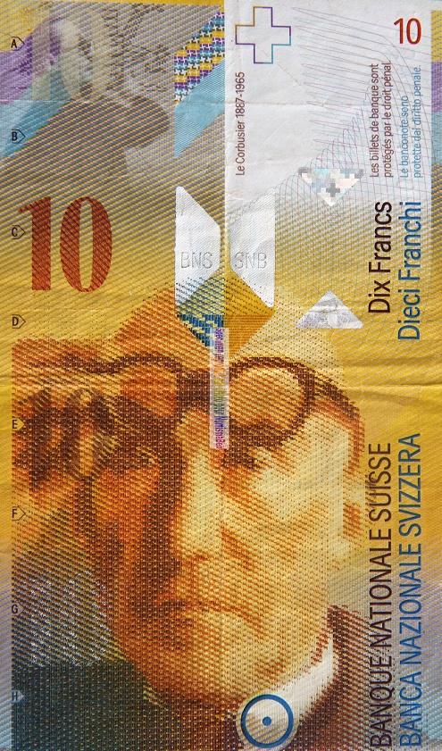 Le Corbusier sulla banconota svizzera da 10 franchi. Le Corbusier  lo svizzero naturalizzato francese homme de lettres e architetto vindice dei bisogni urbanistici dei più bisognosi