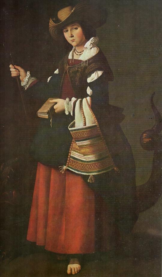 Come nel commento al particolare del quadro qui sopra. Il vero protagonista è l'osservatore e non l'osservato,anche se il primo è in soggettiva (non si vede) Santa Margarita ;tela/ lienzo de Francisco de Zurbarán. L'indiscrezione nello sguardo di chi osserva;ecco il vero soggetto dell'Opera.