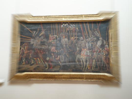 Opere italiane; 1/3 ovvero uno delle tre tavole dipinte da PAOLO di DONO , detto PAOLO UCCELLO. La battaglia di San Romano che vide il trionfo di Firenze sugli eterni nemici senesi (spalleggiati dai milanesi) La prima si trova presso la Galleria degli Uffizi di Firenze, ( atterramento di 'della C(i)arda) la seconda,la presente rappresenta Micheletto Attendolo da Cotignola ,  la terza delle tre conosciute si trova a Londra presso la 'The National Gallery', London  ( Nic(c)olò da Tolentino )...