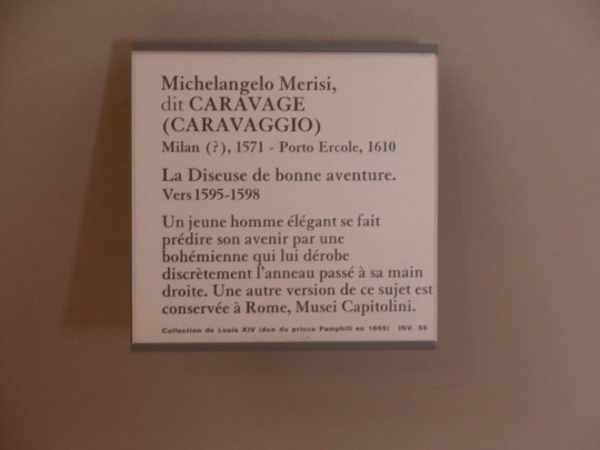 Michelangelo Merisi da Caravaggio, un Suo bel quadro che gli rende onore al'interno del Louvre.