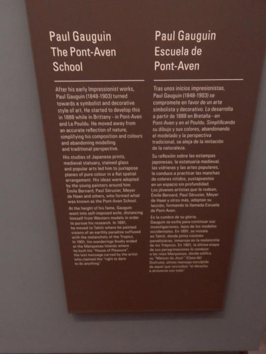 Si apre ora una sala d'eccezione; Van Gogh e  Gauguin, i due iniziatori dell'espressionismo francese che segna il primo passaggio dall'impressionismo, ovvero il primo movimento pittorico non figurativo, cioè astratto,  al movimento espressionista che presto conterrà forti elementi di critica sociale .Critica che si accentuerà in Germania con il movimento dei 'Fauves'