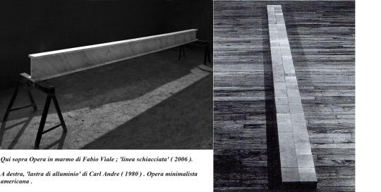 Fabio Viale;  ' linea schiacciata' , marmo di Carrara  2006 . Cfr  ( cf) con ( a destra) , 'lastra di alluminio' di Carl Andre ( 1980 ) .