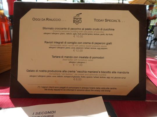 menù Rinuccio  2015 presso Antinori Bargino (FI)