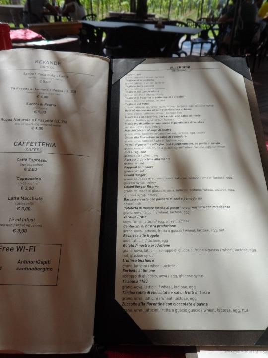 menù Rinuccio 2015 presso Antinori Bargino 3