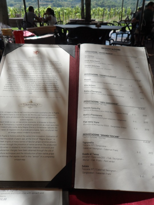 menù Rinuccio 2015 presso Antinori Bargino 4