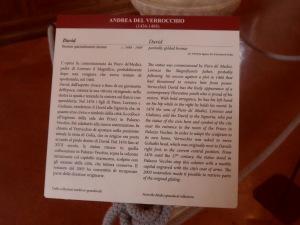 didascalia del David bronzeo del Verrocchio