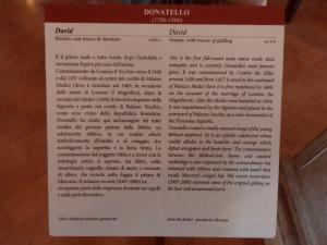 Didascalia del David in bronzo di Donatello alias Donato di Niccolò di Betto Bardi