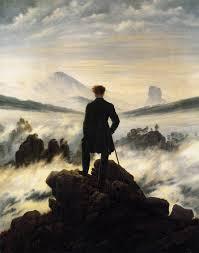 Caspar David friedrich Der Wanderer über dem Nebelmeer; guardate che razza di Uomo faustiano ;  puro cosmos che emerge dal kaos.
