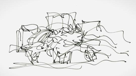 Frank O Gehry; primo abbozzo di una idea, altrettanto contorta come il progetto finito e chi l'ha concepita.