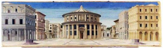 La città ideale alias perfetta unità di luogo e tempo. That's why the Renaissance Florence is so important for the man of the third millennium. Dipinto - progetto -  di Piero della Francesca   ( o Luciano Laurana ).