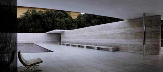 Ludwig Mies van der Rohe; Padiglione di Barcellona del 1929; particolare del rivestimento esterno in marmo travertino.