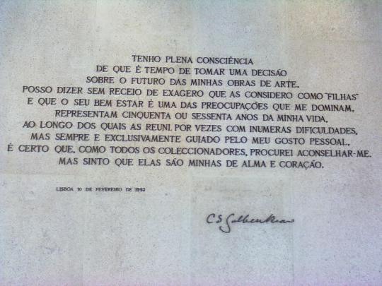 Museu Calouste Gulbenkian Commemorative inscription of his patron