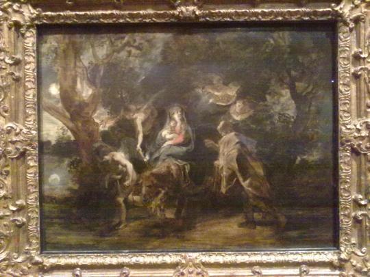 P P Rubens fuga in Egitto. Rubens ,a differenza forse di Rembrandt, risente maggiormente dell'influenza del suo tempo. Una visibile ridondanza nel riempire ogni angolo della tela come al pari, si decorava od arredava in maniera oggi palesemente pesante.
