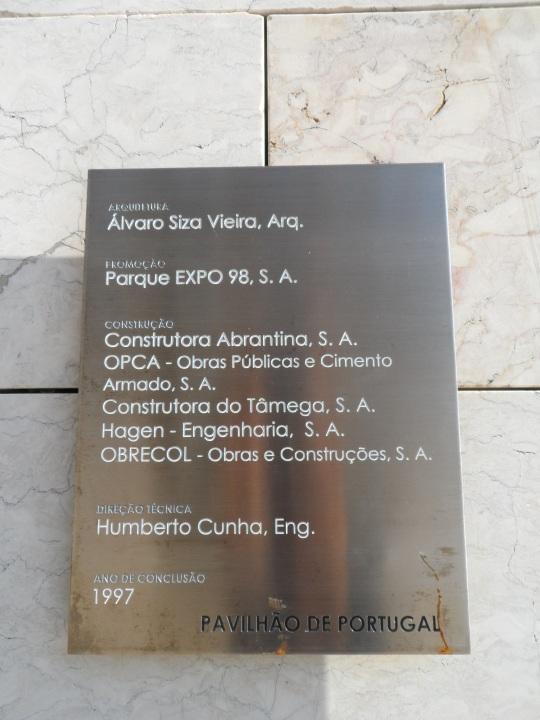 Portuguese Pavilion architect Alvaro Siza ; targa didascalica