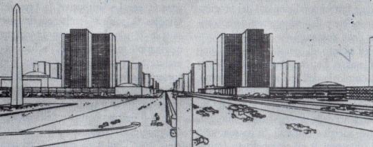 Progetto del 1922 di Le Corbusier  di una città nuova ; vedi quanto nella nota in didascalia qui sopra.
