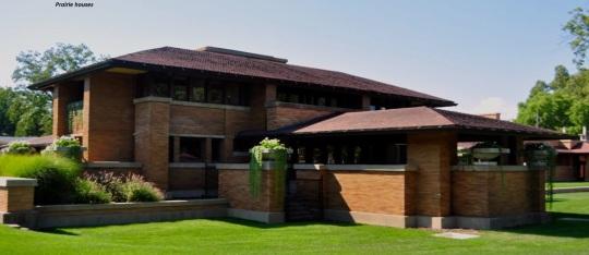 Frank Lloyd Wright; il risultato di tale ricerca; le prairie houses (case della prateria, anche se poste in città!) e, non senza fantasia epsressiva, le  usonian house (case americane !)