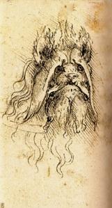 Leonardo ; due studi di animali grotteschi/chimerici  ( prodotto di fantasia ...) . Il primo dei due animali 'chimerici'  . Anno D. 1510 circa.