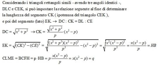 Dimostrazione  che i due rettangoli CLME e BCFH hanno pari area 'q' .
