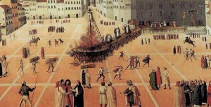 Rogo, esecuzione di Girolamo Savonarola del 23 maggio 1498 in Piazza della Signoria a Firenze.