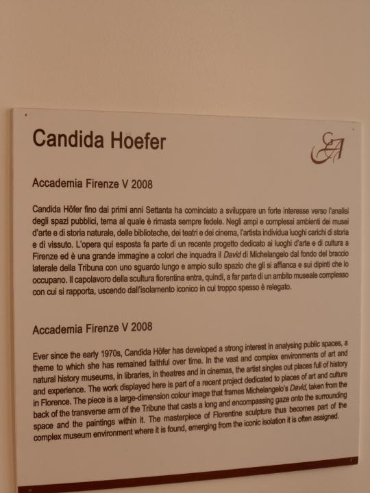 Candida Hoefer       fotografa  Didascalia  Galleria dell'Accademia   -Firenze-