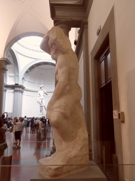 Michelangelo Buonarroti Incompiuto e NON non finito      Prigione II profilo sinistro   per la tomba di Papa Giulio II a Roma      Galleria dell'Accademia       -Firenze-