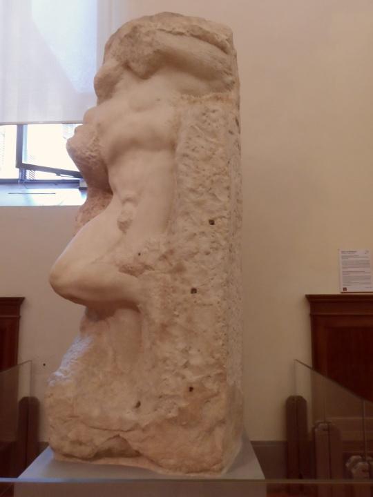 Michelangelo Buonarroti Incompiuto e NON non finito          Prigione III     per la tomba di Papa Giulio II a Roma      Galleria dell'Accademia       -Firenze-