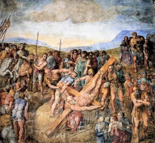 ichelangelo Crocifissione di San Pietro, due pitture 'a fresco' tarde di Michelangelo, che palesano in pittura i Suoi ripensamenti in scultura, mediante il 'non finito' 'unfinished' or 'sketches'. Qui in queste due pitture si nota uno sfumato insolito rispetto a tutte le Sue pitture sempre con contorni e luce preponderanti.