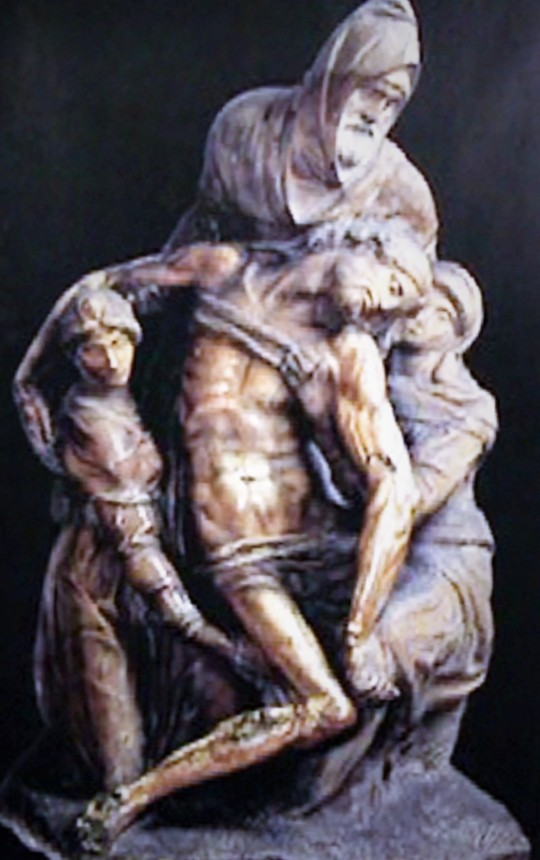 Michelangelo Pietà dell'Opera del Duomo alias           Pietà Bandini       - Firenze - Opera pensata da Michelangelo come proprio monumento funebre in cui pare che la figura biblica di Nicodemo rappresenti il Suo auto ritratto.