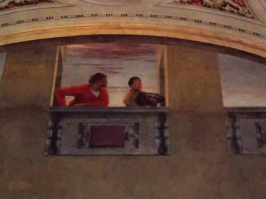 Il Cenacolo di Andrea                          del Sarto presso il Refettorio dell'abbazia vallombrosana , Chiesa di San Michele a San Salvi - Firenze - . Particolare ; Uno dei due 'vivandieri' - quello a sinistra di chi guarda - è l'auto ritratto dell'Artista.
