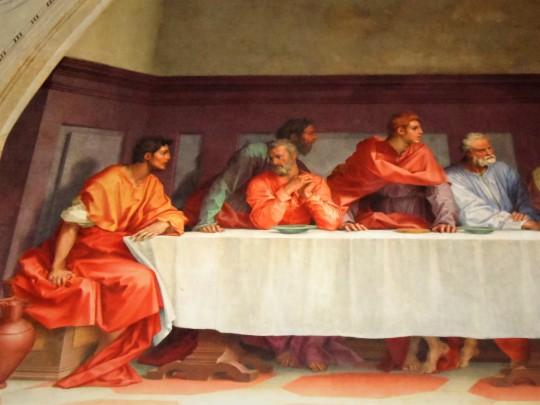 Il Cenacolo di Andrea                          del Sarto presso il Refettorio dell'abbazia vallombrosana , Chiesa di San Michele a San Salvi - Firenze - . Particolare