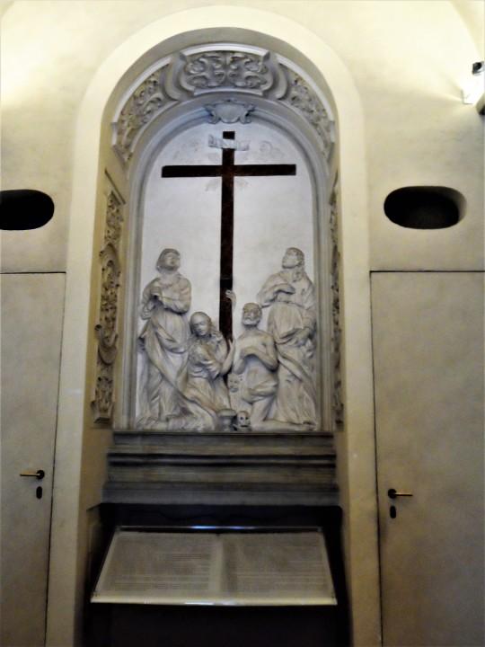 Chiostro dello Scalzo Compagnia di S Giovanni Battista via Cavour Firenze  nicchia fronte ingresso