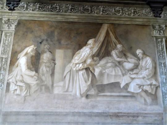 Decorazione Chiostro dello Scalzo di Andrea del Sarto  4/16 Imposizione del nome            al Battista