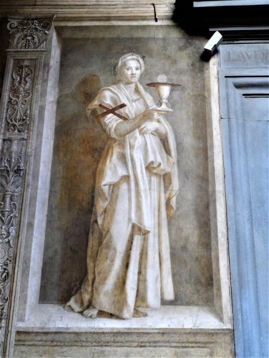 Decorazione Chiostro dello Scalzo di Andrea del Sarto         1/16    La Fede   è il ritratto della moglie del pittore :'     :'Lucrezia del Fede'