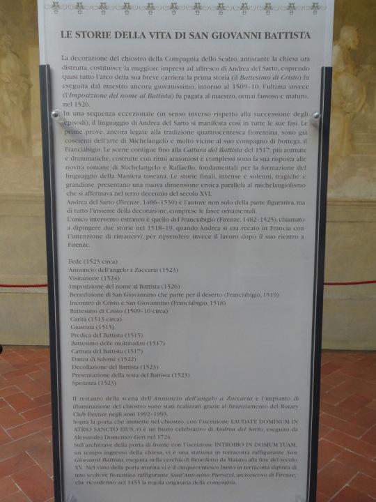 Didascalia presso Chiostro dello Scalzo Compagnia di S Giovanni Battista via Cavour Firenze